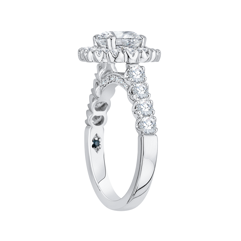 14K White Gold Round Halo Diamond Engagement Ring (Semi Mount)