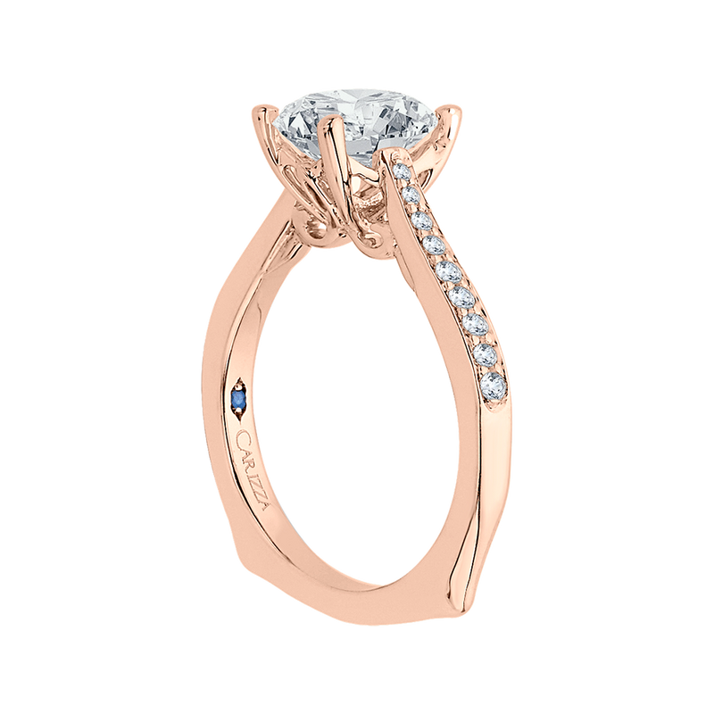 14K Rose Gold Round Cut Diamond Solitaire with Accents Engagement Ring (Semi Mount)
