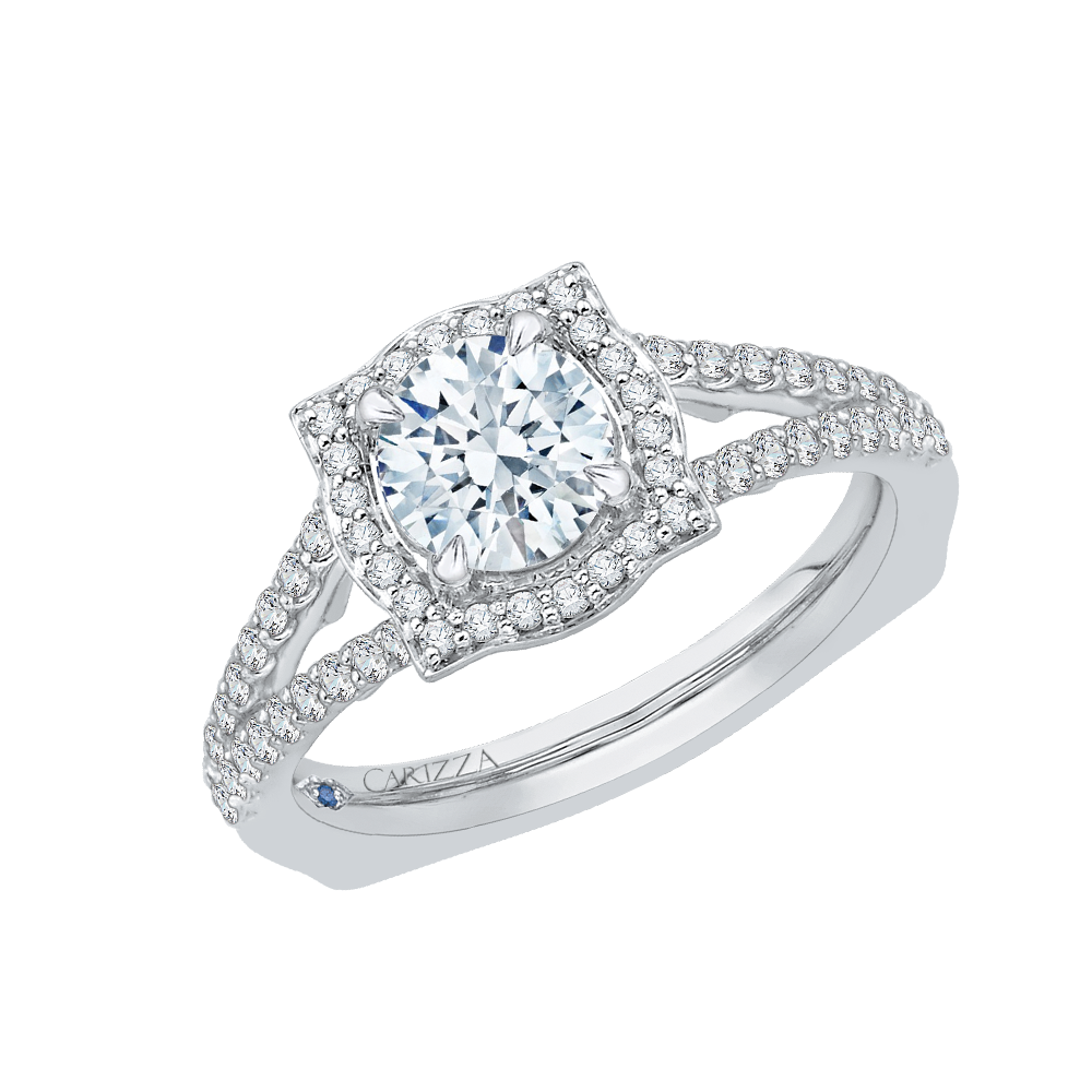 14K White Gold Round Halo Diamond Engagement Ring with Split Shank (Semi Mount)