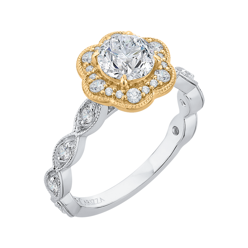14K Two Tone Gold Round Cut Diamond Floral Halo Engagement Ring (Semi Mount)
