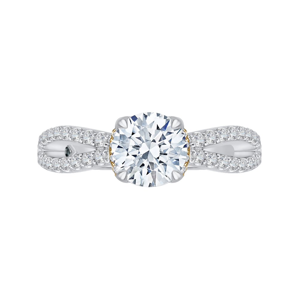 CA0154EH-37WY Bridal Jewelry Carizza White Gold  Rose Gold  Yellow Gold Round Diamond  Engagement Rings