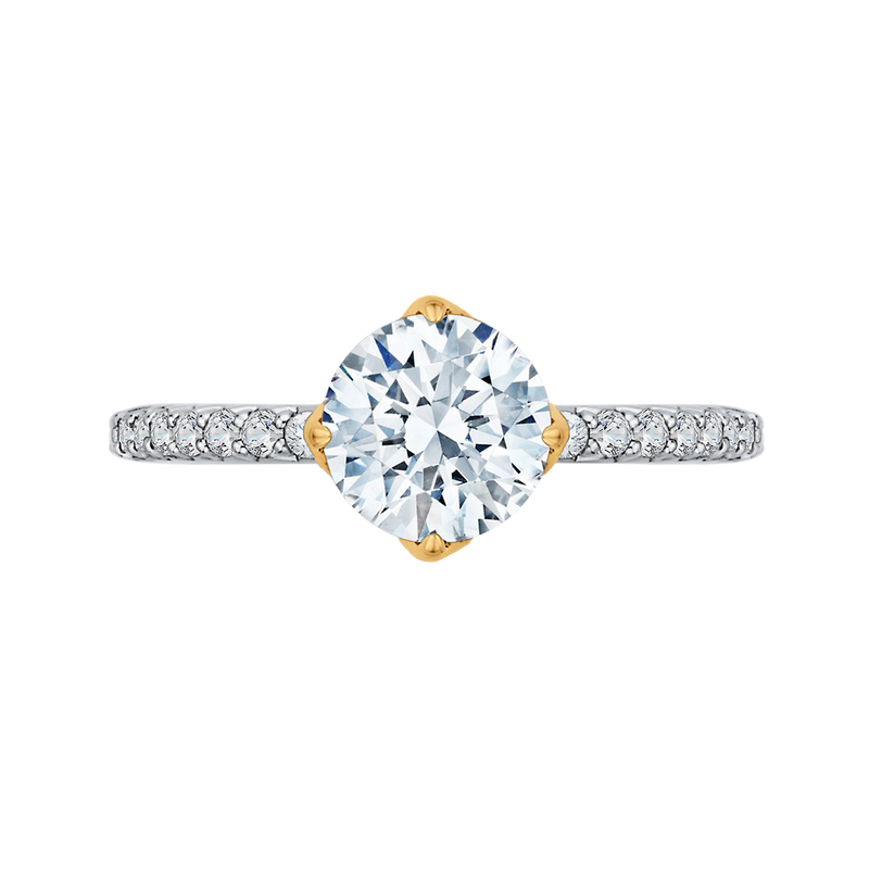CA0191EH-37WY-1.50 Bridal Jewelry Carizza White Gold  Rose Gold  Yellow Gold Round Diamond  Engagement Rings
