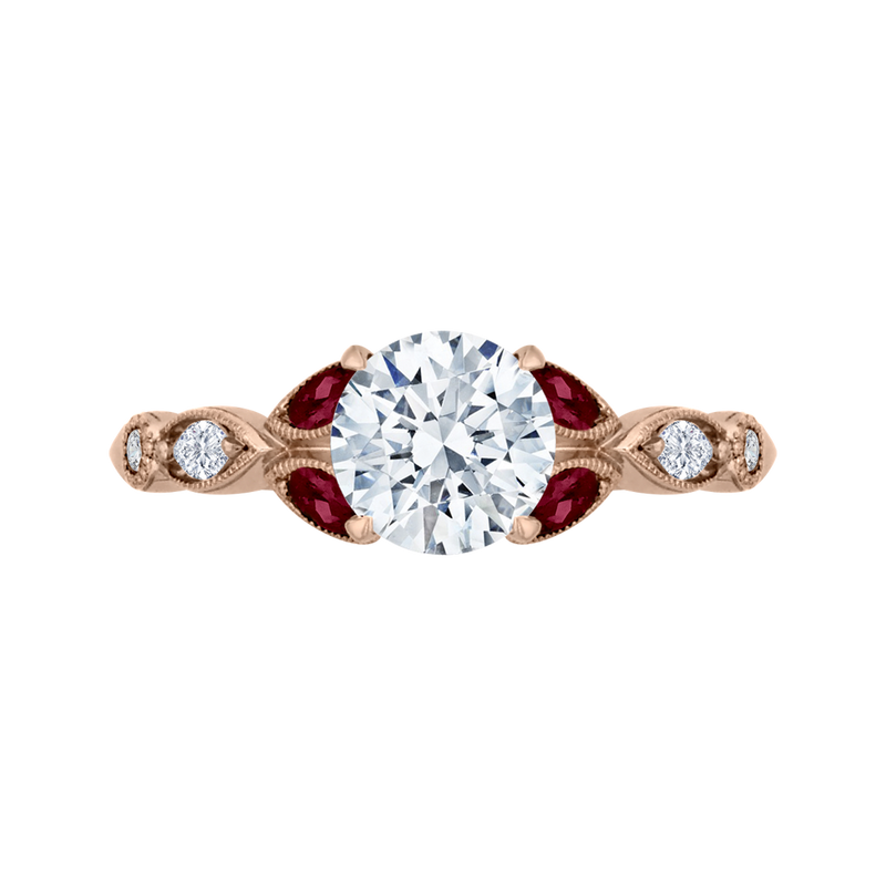 CA0212E-R37P Bridal Jewelry Carizza Rose Gold Round Diamond  Engagement Rings