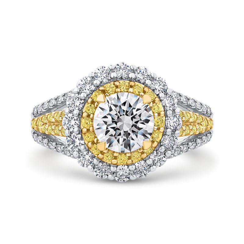 CA0232EHY-37WY-1.00 Bridal Jewelry Carizza White Gold  Rose Gold  Yellow Gold Round Diamond Double Halo Halo Engagement Rings