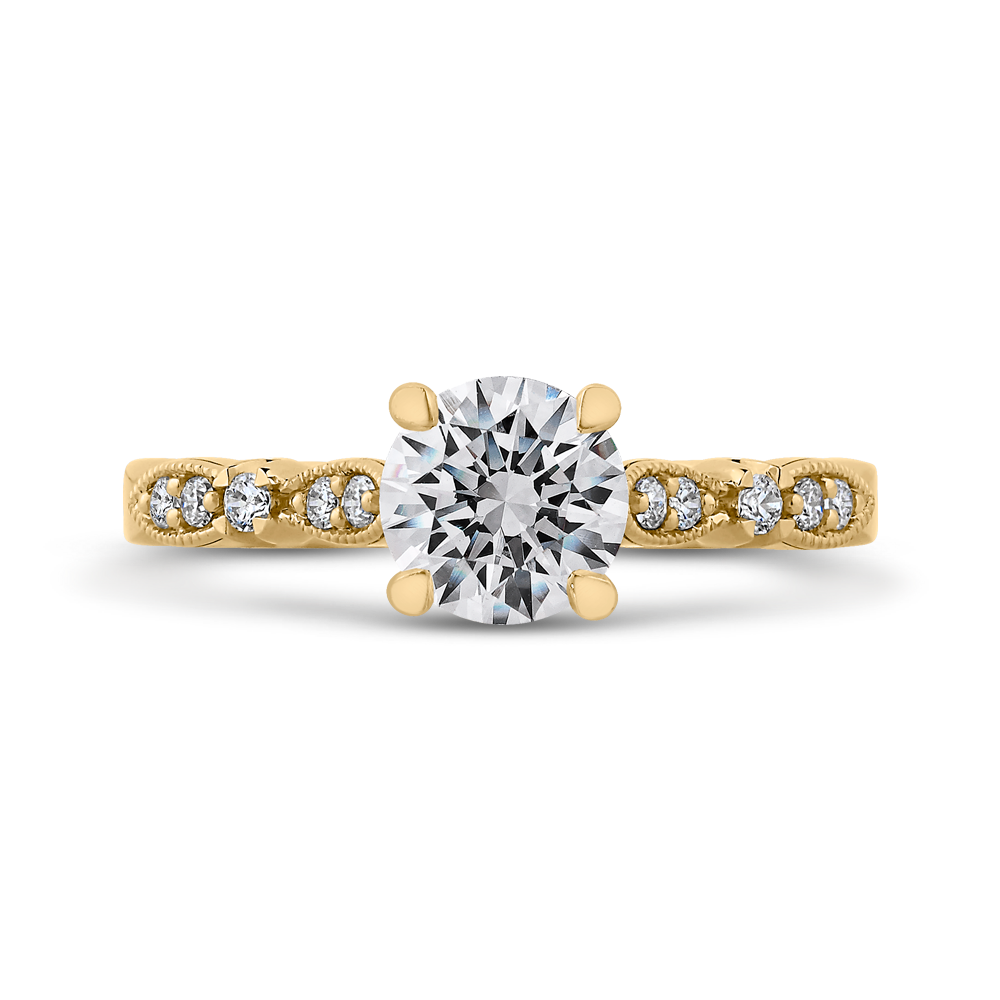 CA0247EH-37-1.00 Bridal Jewelry Carizza Yellow Gold Vintage Round Diamond  Engagement Rings