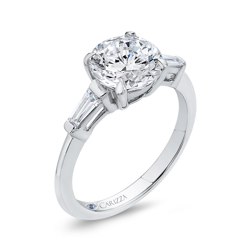 14K White Gold Round Diamond Classic Engagement Ring (Semi Mount)