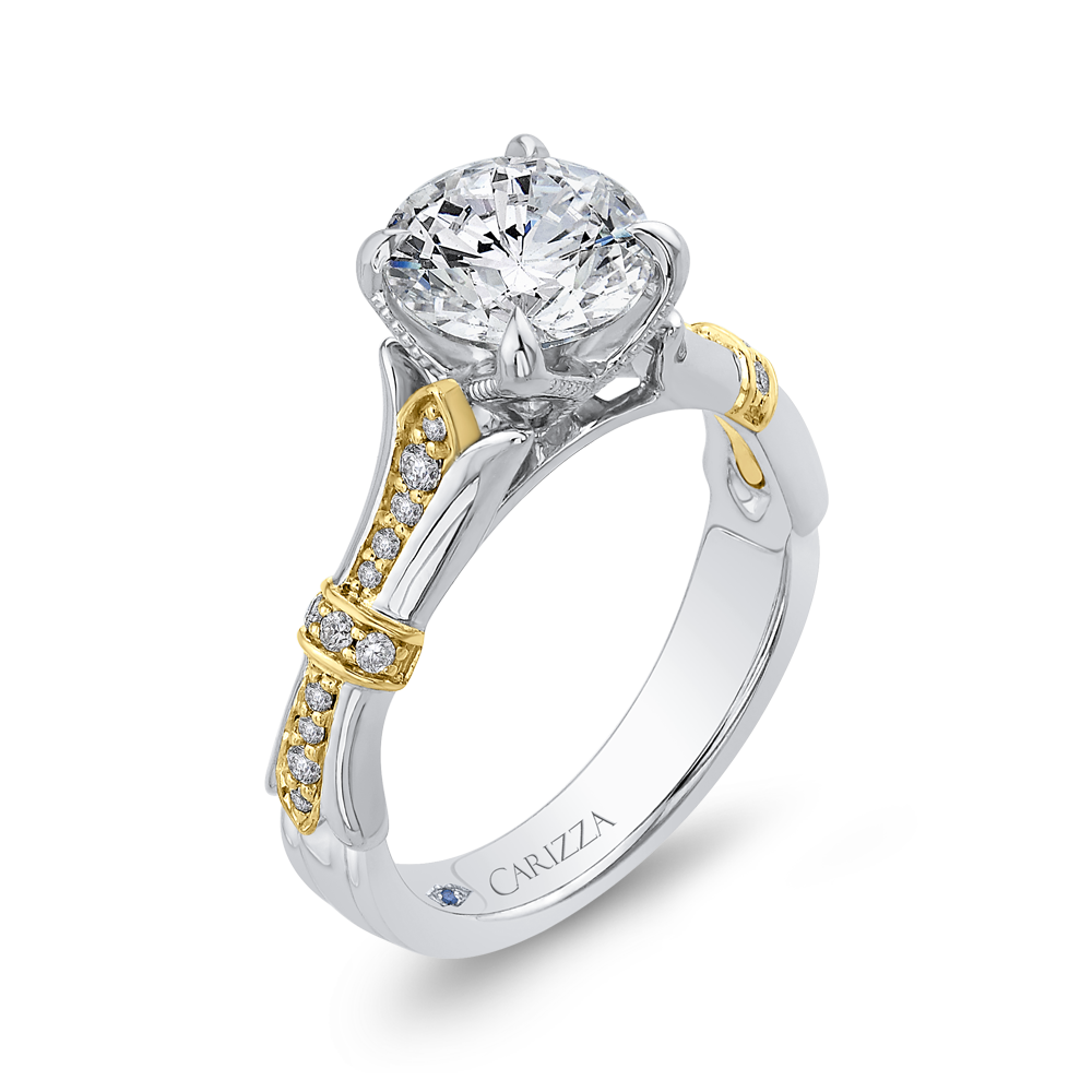 14K Two Tone Gold Round Cut Diamond Floral Engagement Ring (Semi Mount)
