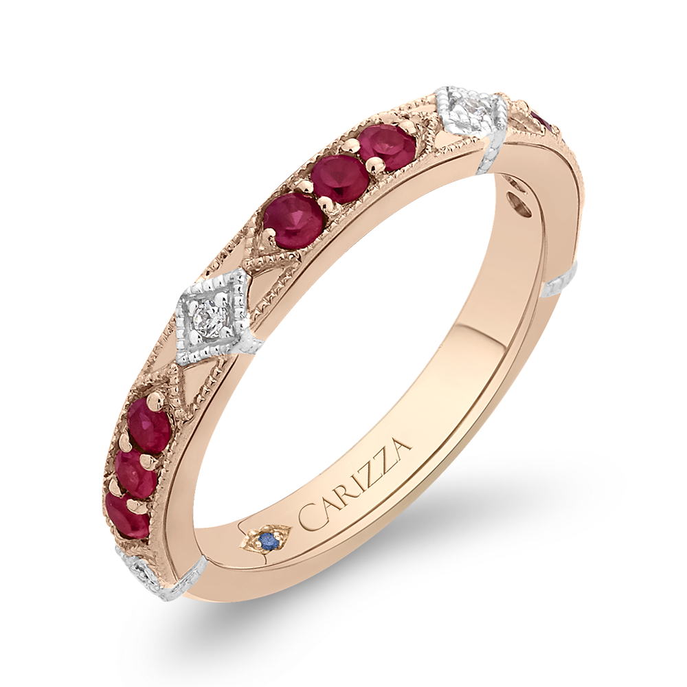 14K Two Tone Gold Round Diamond and Ruby Wedding Band