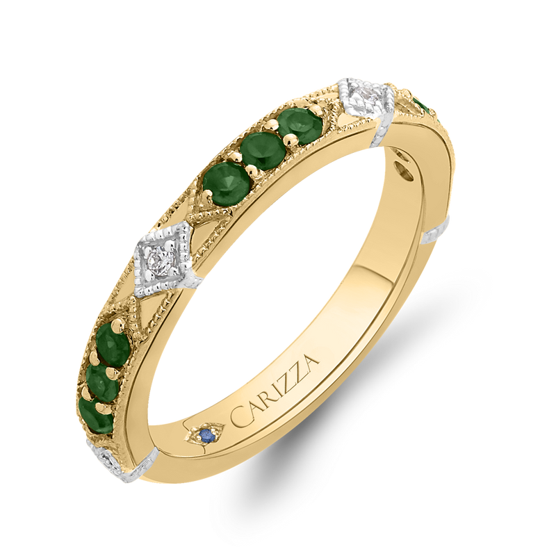 14K Two Tone Gold Round Diamond and Green Tsavorite Wedding Band