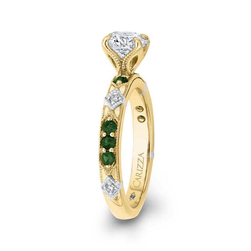 14K Two Tone Gold Round Diamond and Green Tsavorite Engagement Ring (Semi Mount)