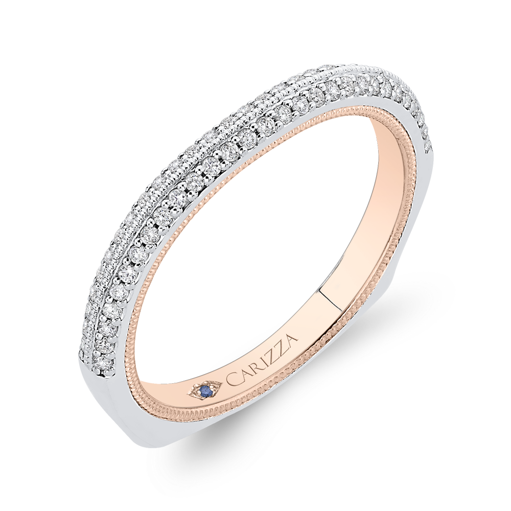 14K Two Tone Gold Round Cut Diamond Half Eternity Wedding Band