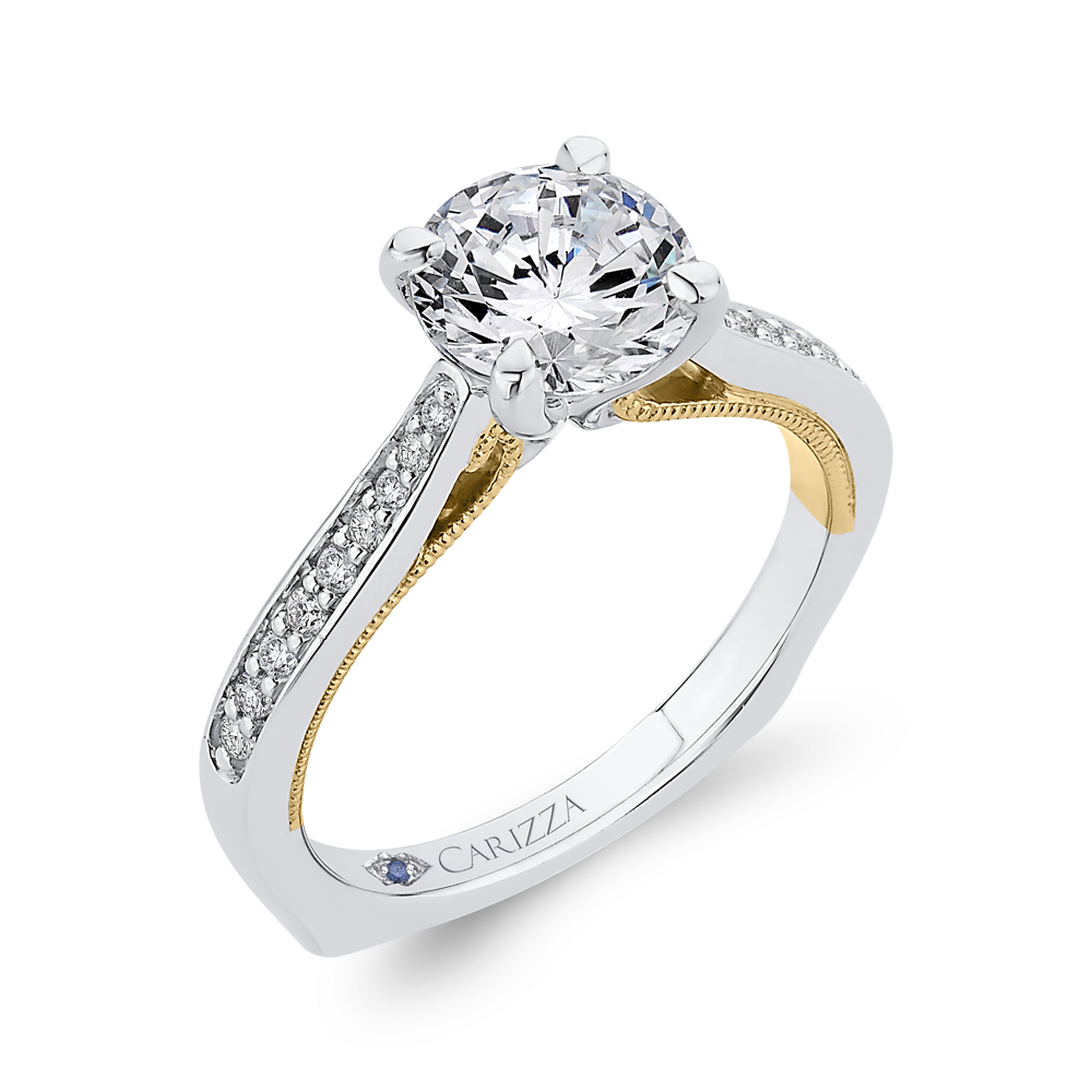 14K Two Tone Gold Round Cut Diamond Engagement Ring (Semi Mount)