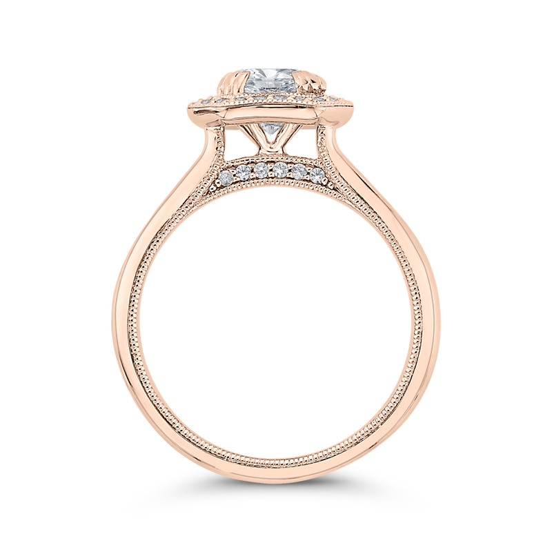 14K Rose Gold Round Diamond Halo Engagement Ring with Euro Shank (Semi Mount)