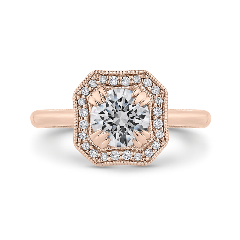 CA0442E-37P-1.00 Bridal Jewelry Carizza Rose Gold Round Diamond Halo Engagement Rings