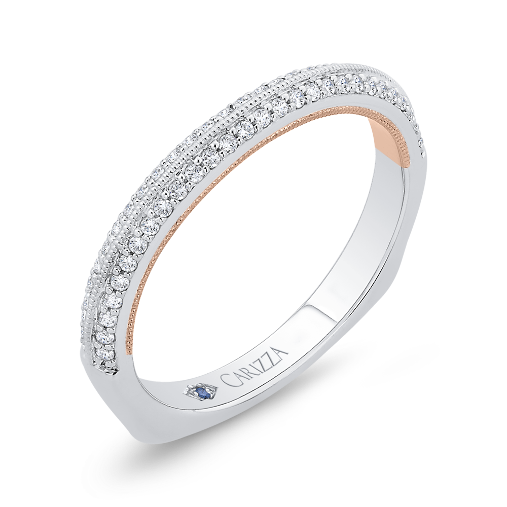 14K White Gold Round Diamond Wedding Band with Euro Shank