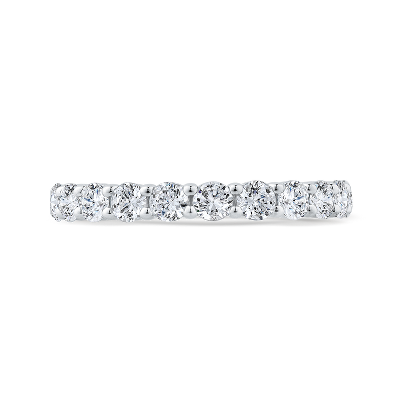 14K White Gold Diamond Wedding Band with Euro Shank