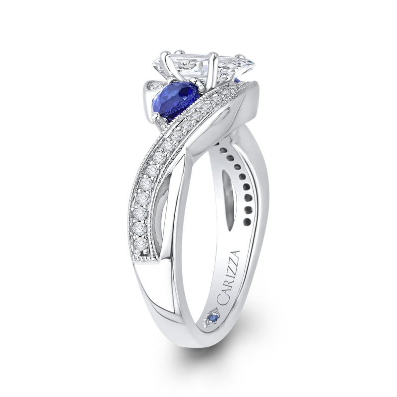 14K White Gold Pear Diamond Engagement Ring with Sapphire (Semi Mount)