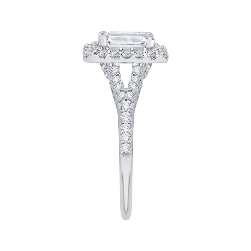 14K White Gold Emerald Cut Diamond Halo Engagement Ring with Split Shank (Semi Mount)