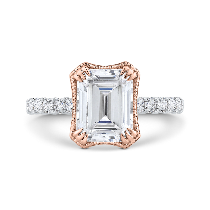 14K White Gold Emerald Cut Diamond Cathedral Style Engagement Ring with Split Shank (Semi Mount)