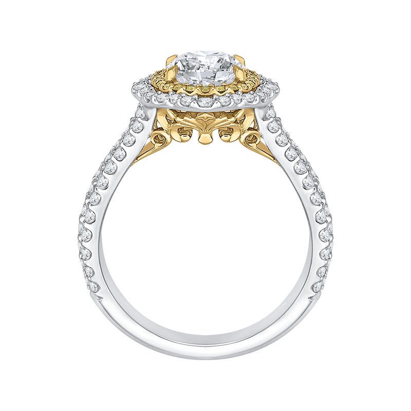14K Two Tone Gold Oval Diamond Double Halo Vintage Engagement Ring (Semi Mount)