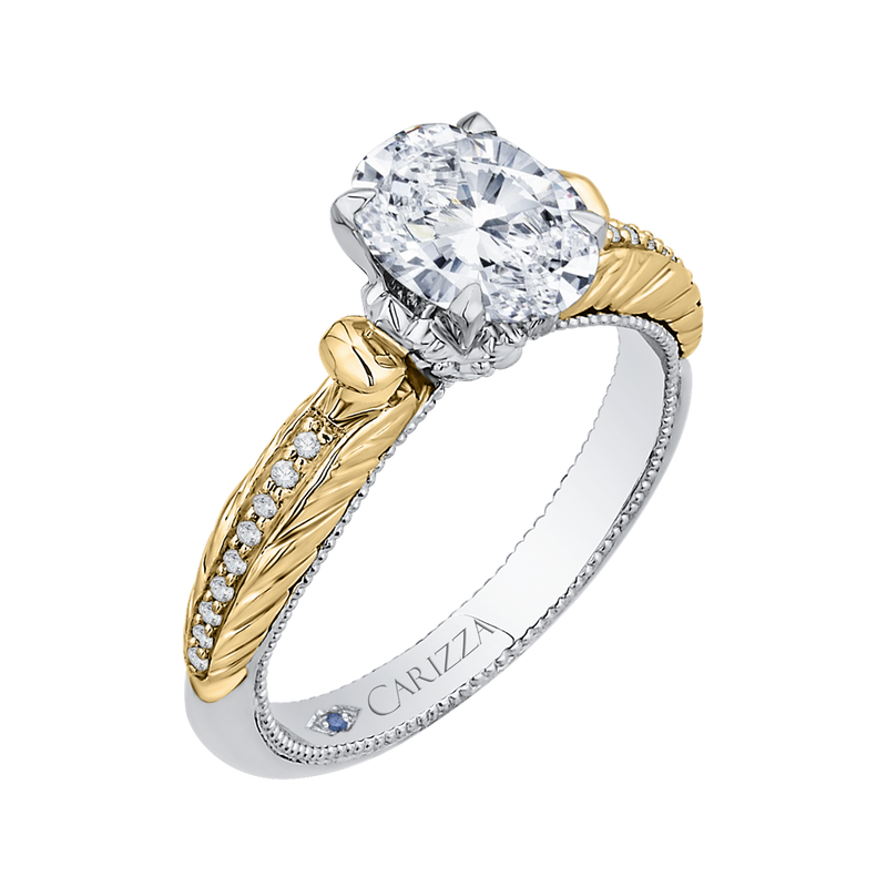 14K Two Tone Gold Oval Diamond Engagement Ring (Semi Mount)