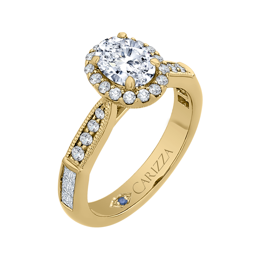 14K Yellow Gold Oval Diamond Halo Engagement Ring (Semi Mount)