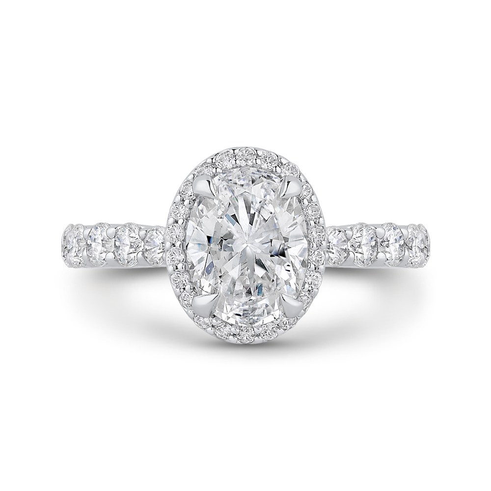 CAO0406EQ-37W-1.50 Bridal Jewelry Carizza White Gold Oval Diamond Halo Engagement Rings