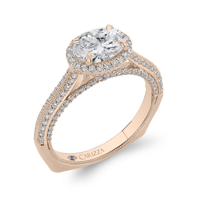 14K Rose Gold Oval Diamond Halo Engagement Ring with Euro Shank (Semi Mount)