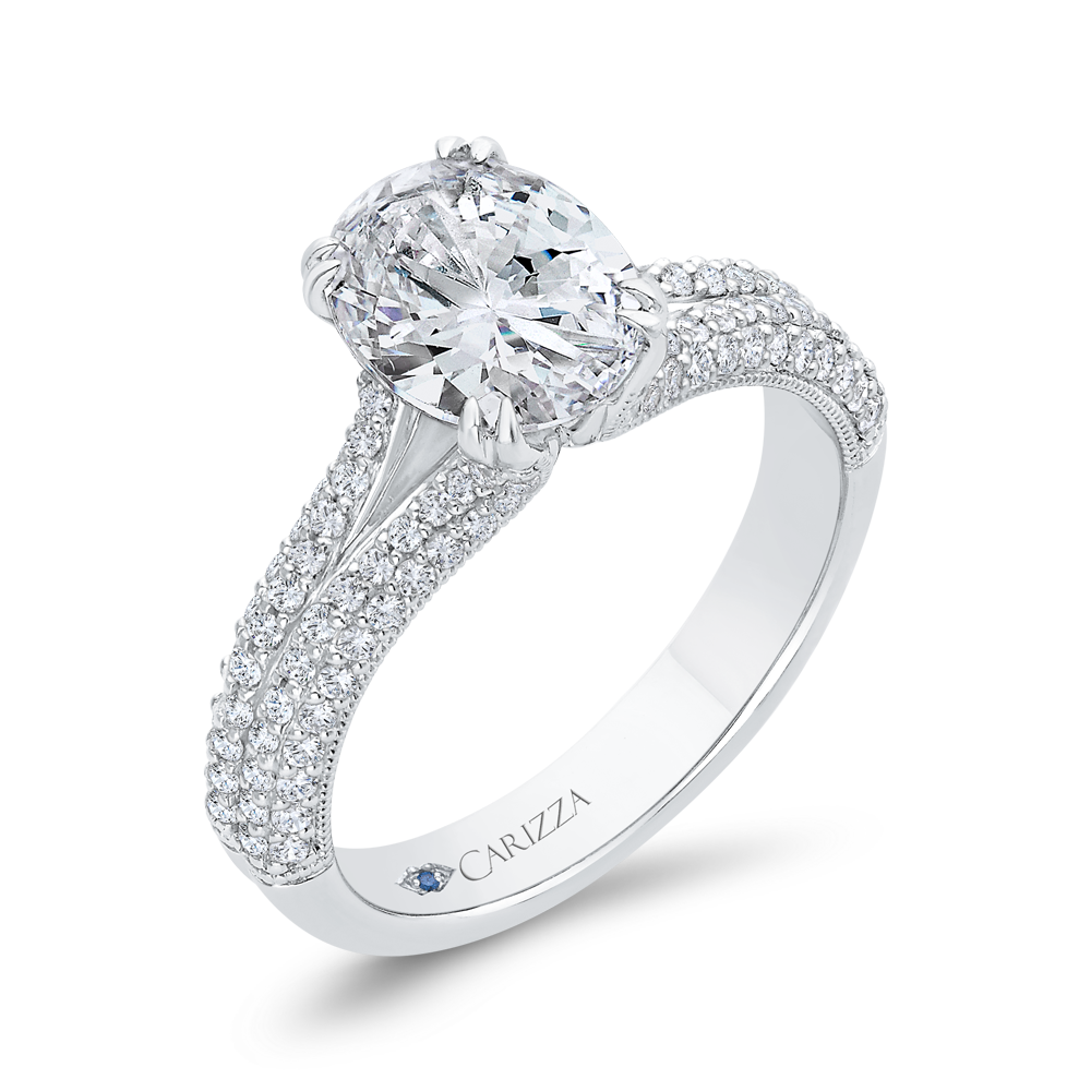 14K White Gold Diamond Engagement Ring (Semi-Mount)