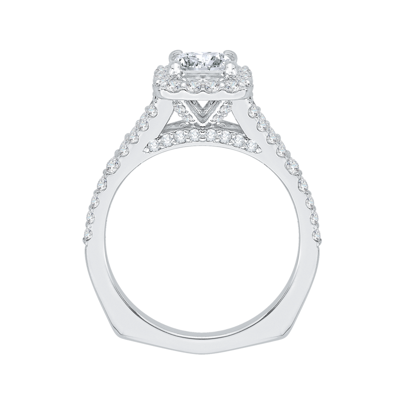 14K White Gold Princess Diamond Halo Engagement Ring with Split Shank (Semi Mount)