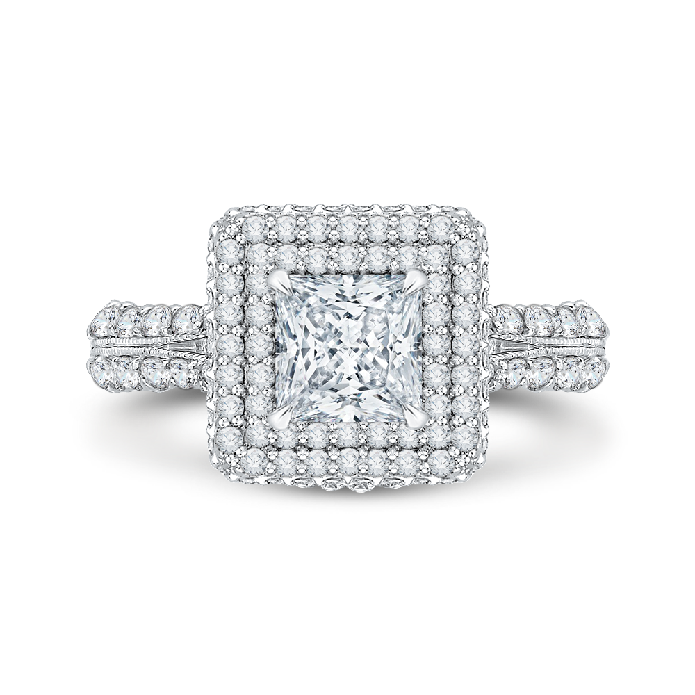 CAP0036E-37W Bridal Jewelry Carizza White Gold Princess Cut Diamond Double Halo Halo Engagement Rings