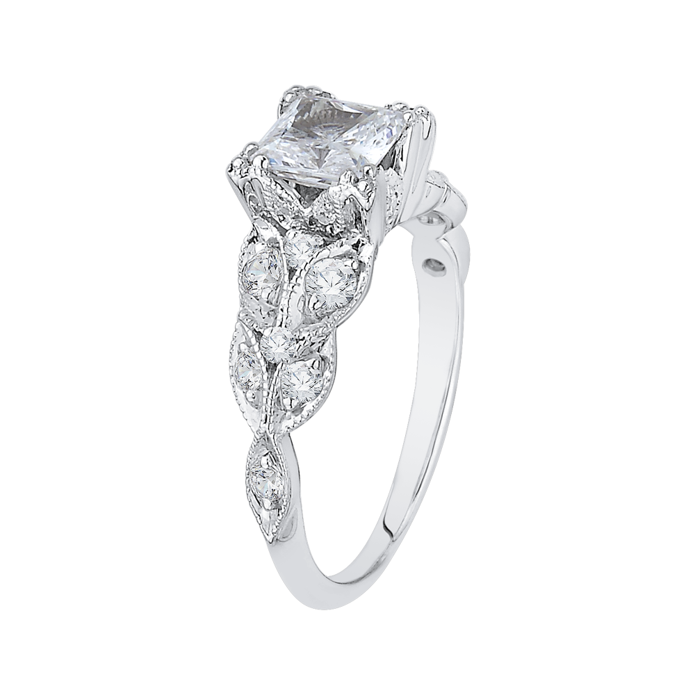 Princess Cut Diamond Floral Engagement Ring In 14K White Gold (Semi Mount)