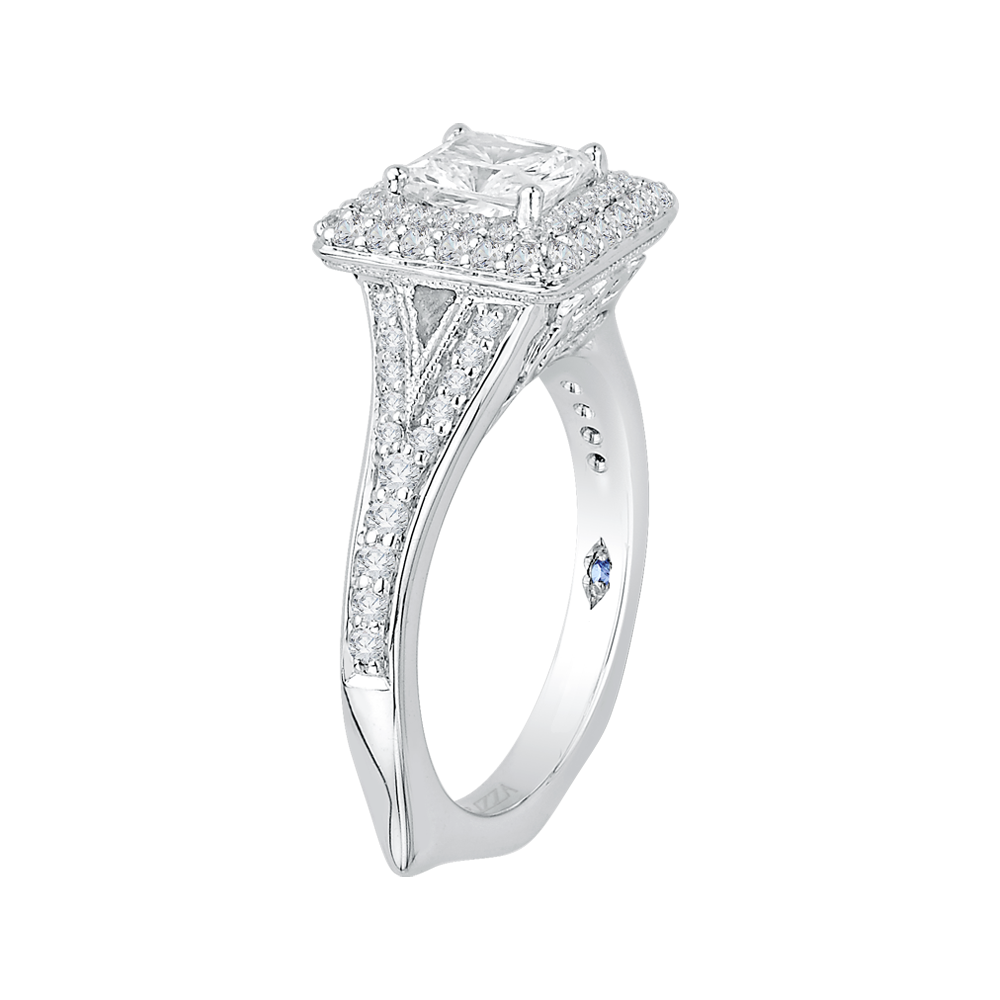 14K White Gold Princess Diamond Double Halo Engagement Ring with Split Shank (Semi Mount)