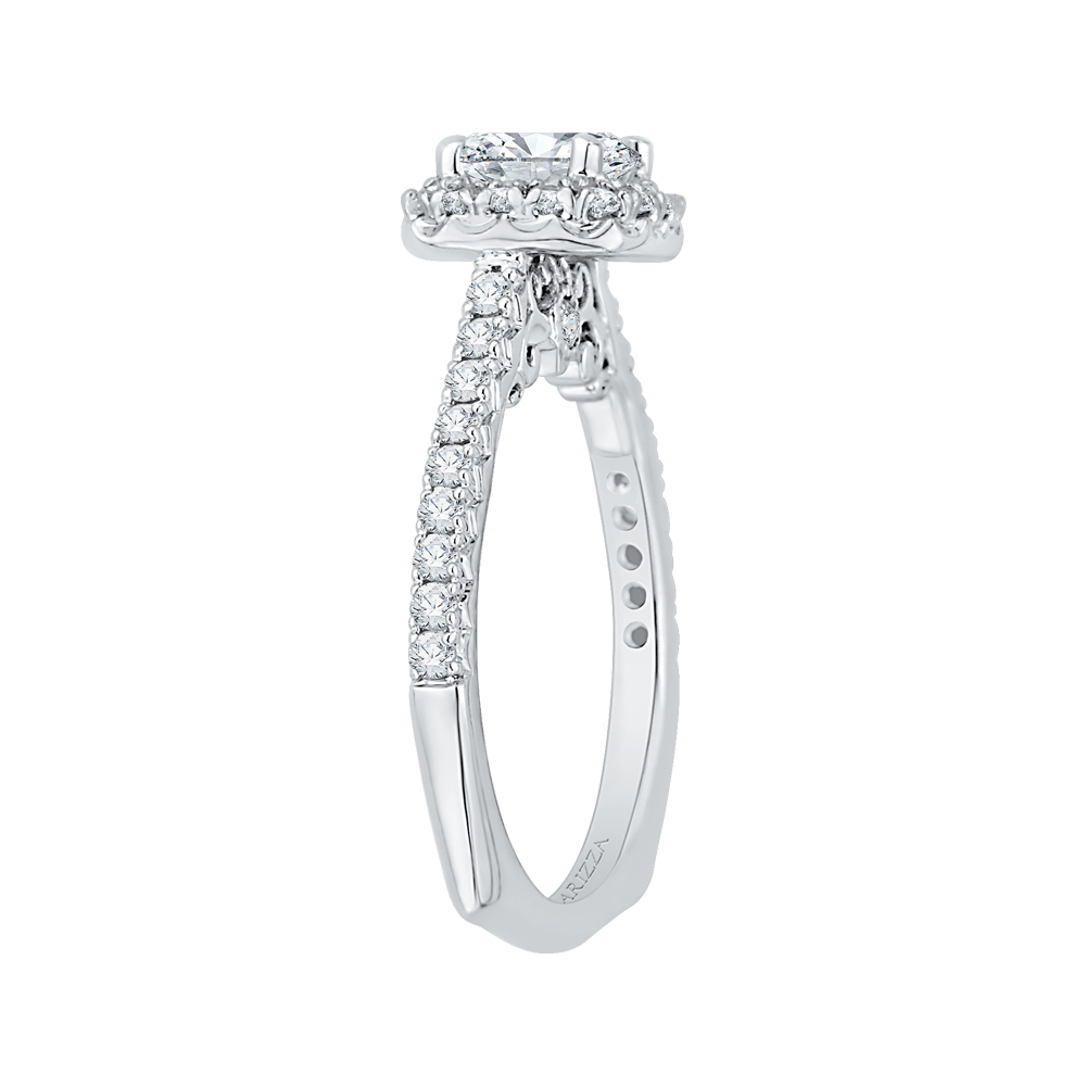 14K White Gold Princess Cut Diamond Halo Engagement Ring (Semi Mount)