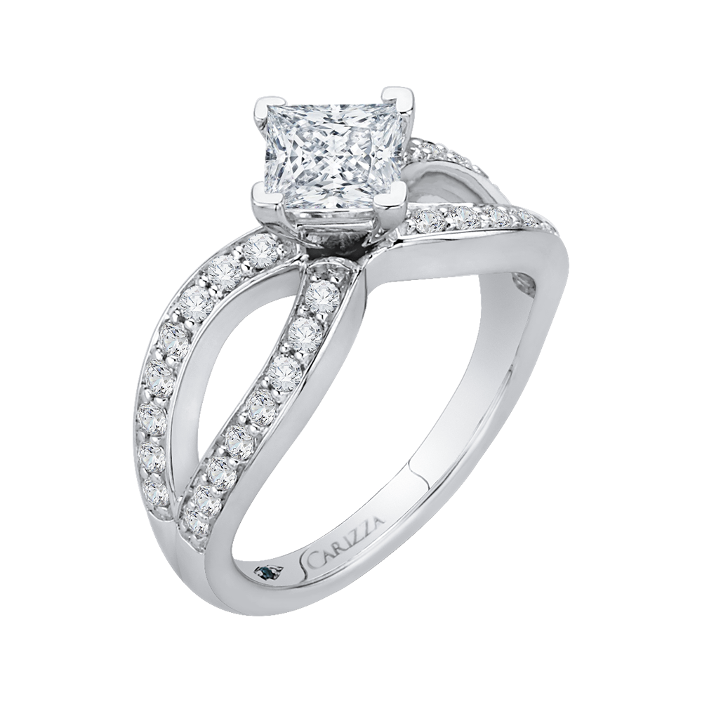 14K White Gold Princess Diamond Engagement Ring with Split Shank (Semi Mount)
