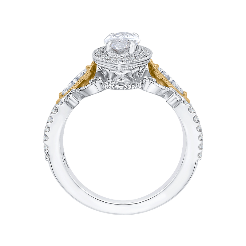 14K Two Tone Gold Marquise Diamond Halo Engagement Ring (Semi Mount)