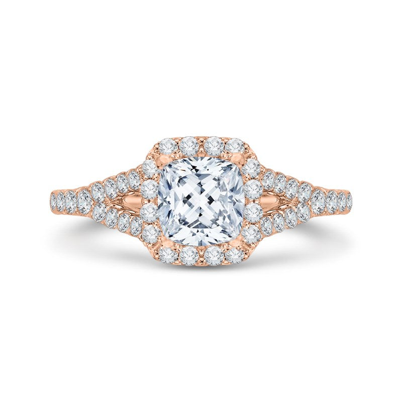 14K Rose Gold Cushion Cut Diamond Halo Engagement Ring with Split Shank (Semi Mount)