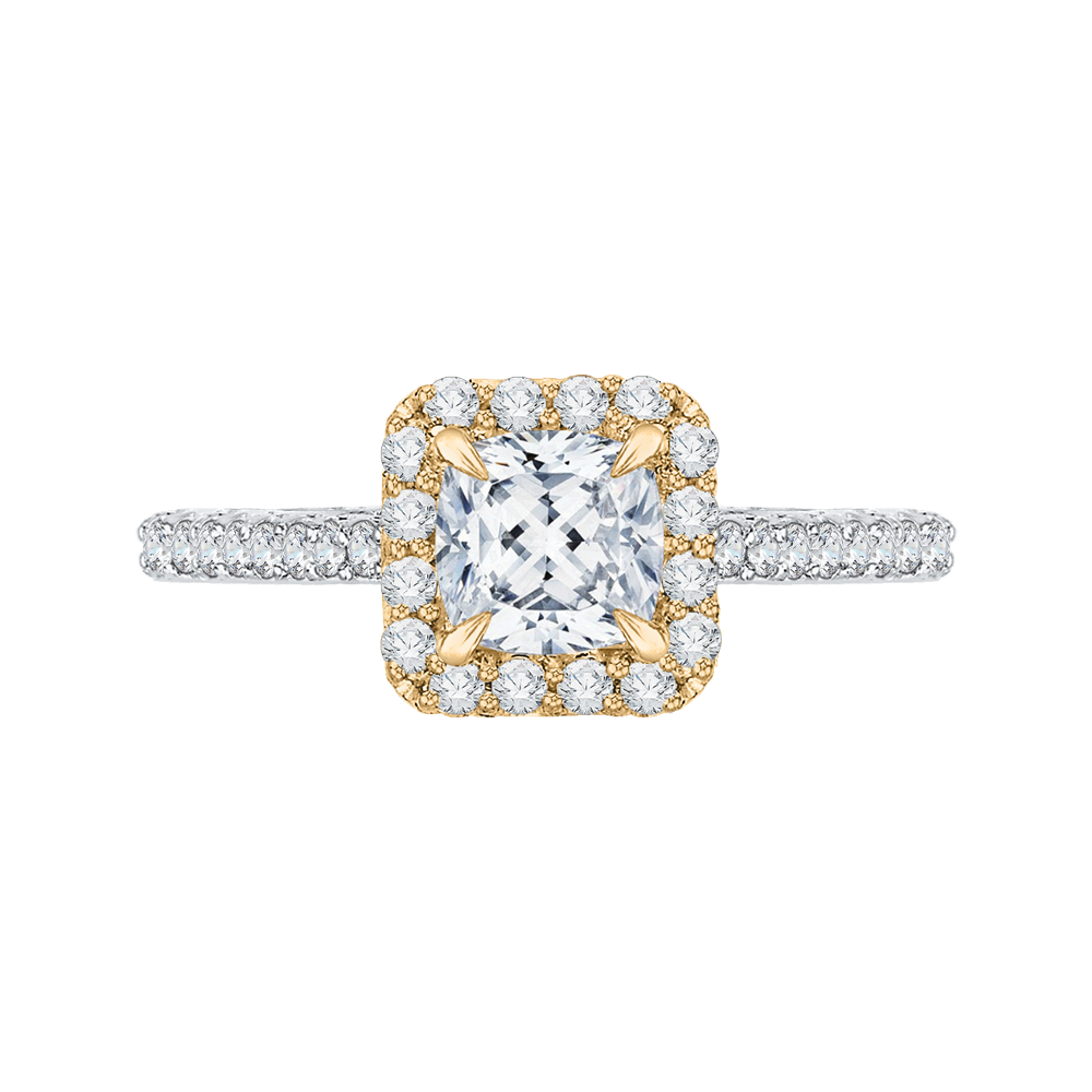 CAU0034E-37WY Bridal Jewelry Carizza White Gold  Rose Gold  Yellow Gold Cushion Cut Diamond Halo Engagement Rings