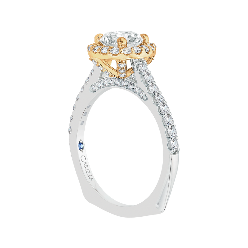 14K Two Tone Gold Cushion Diamond Halo Engagement Ring (Semi Mount)