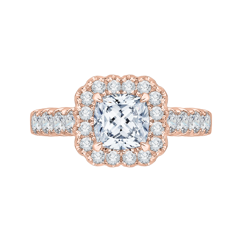 CAU0037E-37P Bridal Jewelry Carizza Rose Gold Cushion Cut Diamond Halo Engagement Rings