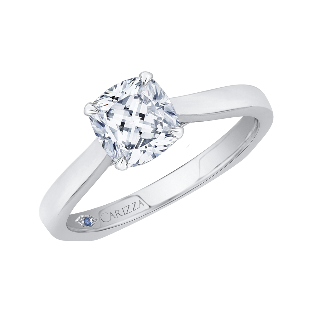 14K Two Tone Gold Cushion Cut Diamond Solitaire Engagement Ring (Semi Mount)