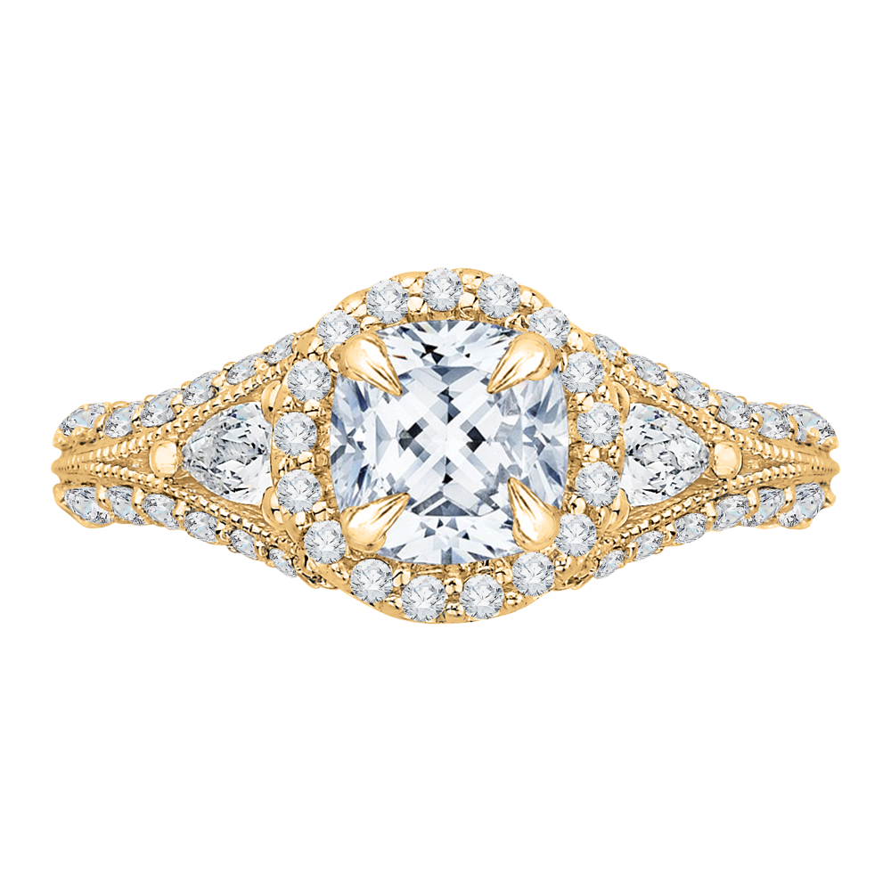 CAU0041E-37 Bridal Jewelry Carizza Yellow Gold Cushion Cut Diamond Halo Engagement Rings