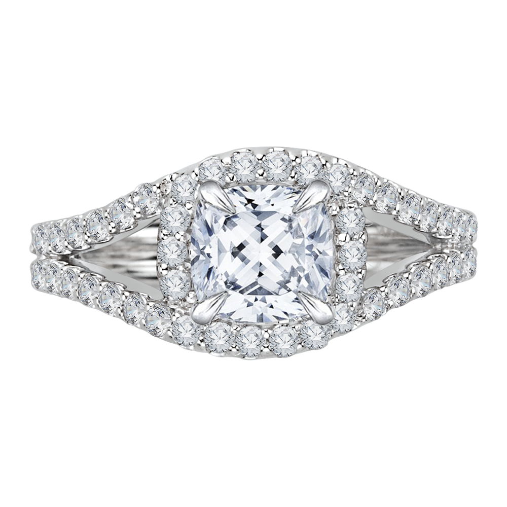 CAU0057E-37W Bridal Jewelry Carizza White Gold Cushion Cut Diamond Halo Engagement Rings