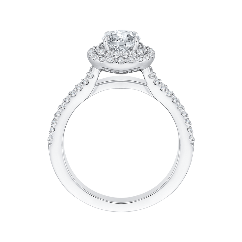 Cushion Diamond Double Halo Cathedral Style Engagement Ring In 14K White Gold (Semi Mount)