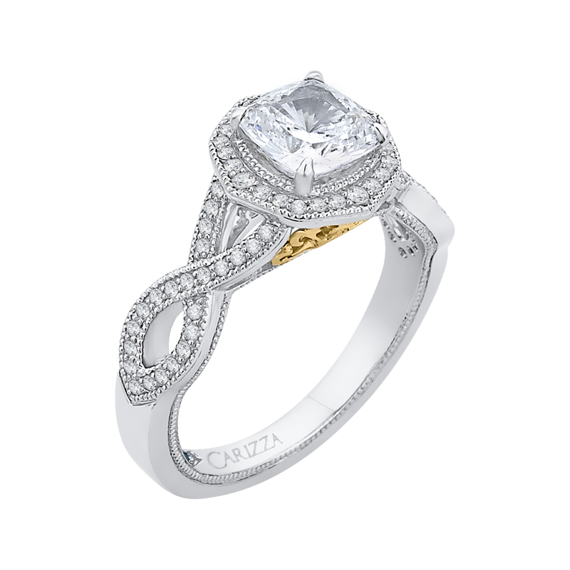 14K Two Tone Gold Cushion Cut Diamond Halo Engagement Ring with Split Shank (Semi Mount)