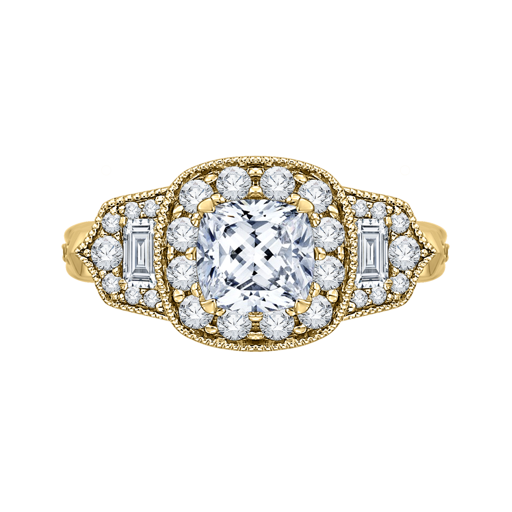 CAU0216E-37-1.50 Bridal Jewelry Carizza Yellow Gold Vintage Cushion Cut Diamond Halo Engagement Rings