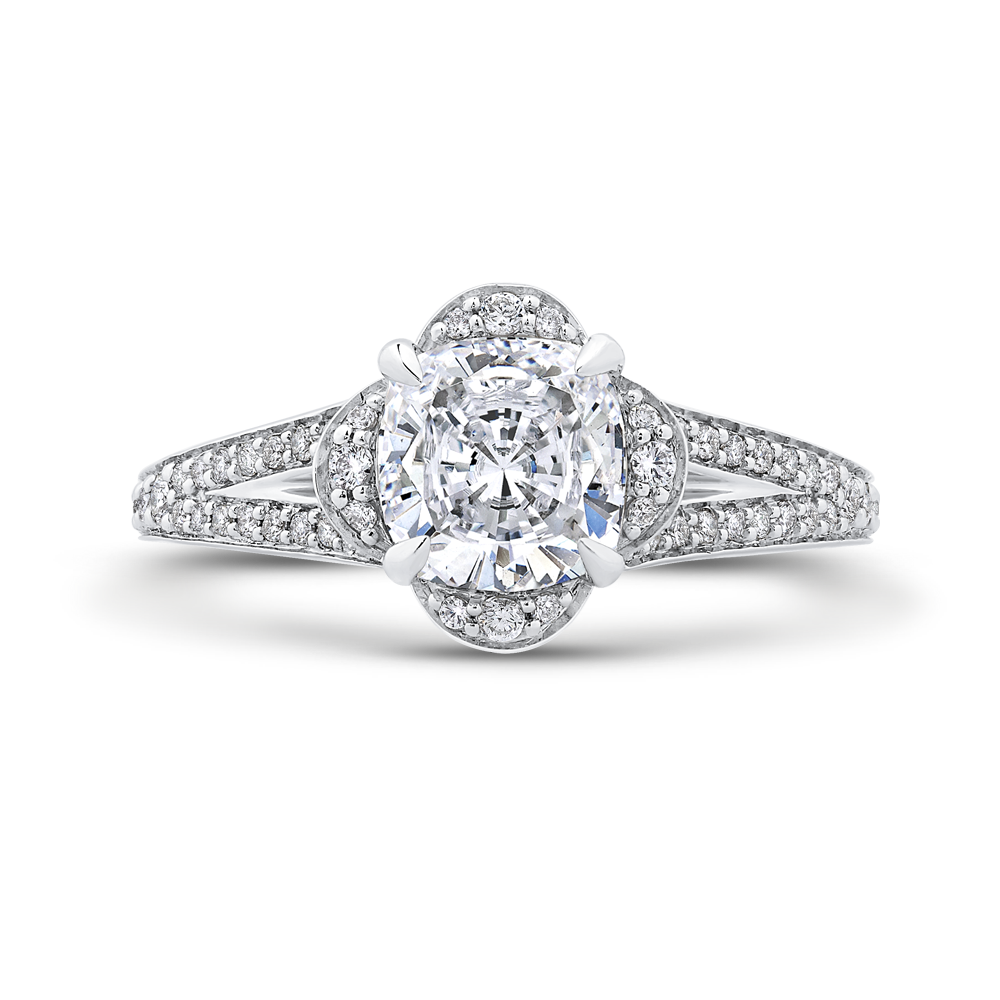 CAU0244EH-37W-1.50 Bridal Jewelry Carizza White Gold Cushion Cut Diamond  Engagement Rings