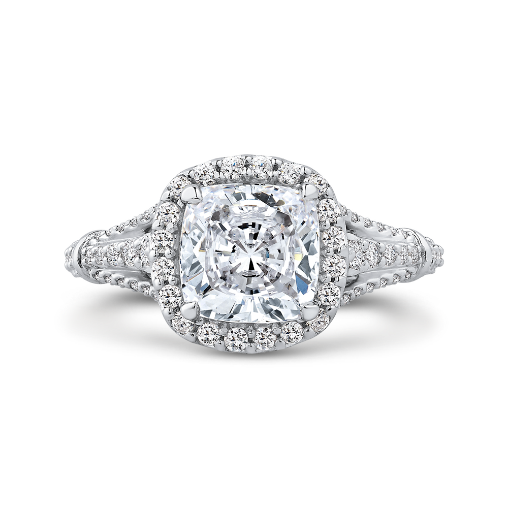 CAU0288E-37W-2.00 Bridal Jewelry Carizza White Gold Cushion Cut Diamond Halo Engagement Rings