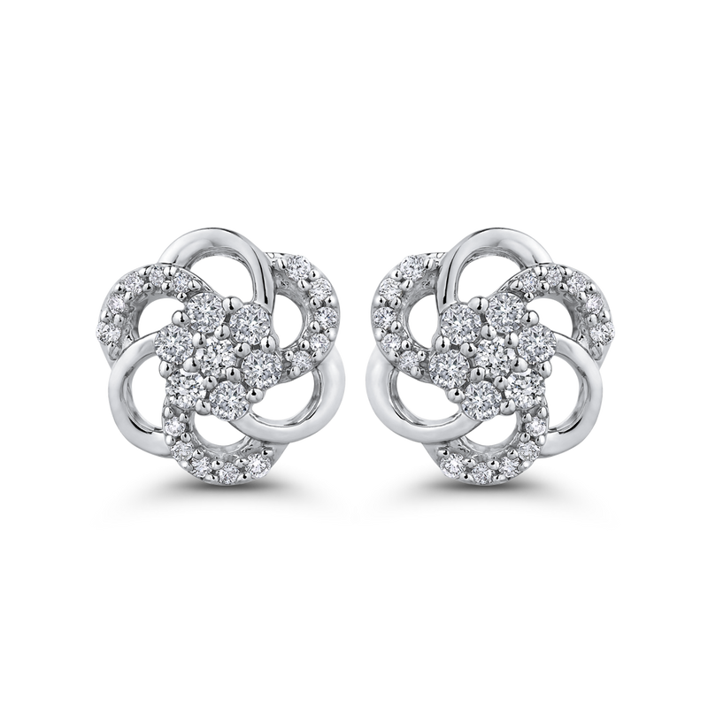 10K White Gold 7/8 Ct Diamond Fashion Earrings