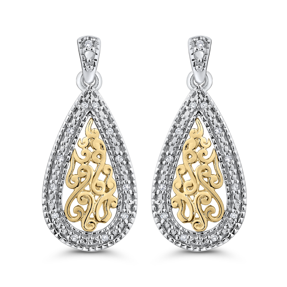 EA0749T-25WY Fashion Jewelry Carizza Fashion White Gold Yellow Gold Diamond Earrings